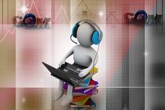 uomo 3d e computer portatile con i libri Fotografia Stock Libera da Diritti