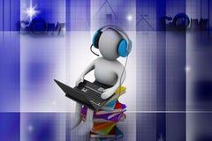 uomo 3d e computer portatile con i libri Immagine Stock Libera da Diritti