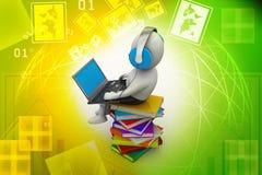 uomo 3d e computer portatile con i libri illustrazione vettoriale