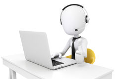 uomo 3d e computer portatile, concetto della call center Fotografia Stock Libera da Diritti