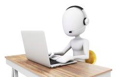 uomo 3d e computer portatile, concetto della call center Immagini Stock Libere da Diritti
