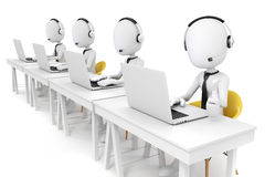 uomo 3d e computer portatile, concetto della call center Fotografie Stock
