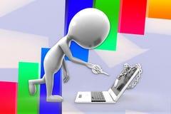 uomo 3d ed illustrazione bloccata del computer portatile Fotografia Stock
