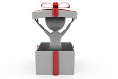uomo 3d nel concetto del contenitore di regalo Fotografia Stock Libera da Diritti