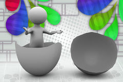 uomo 3d nell'illustrazione dell'uovo Immagini Stock