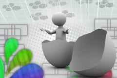 uomo 3d nell'illustrazione dell'uovo Immagine Stock