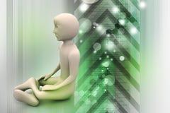 uomo 3d nella meditazione Fotografia Stock Libera da Diritti