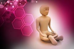 uomo 3d nella meditazione Fotografie Stock Libere da Diritti