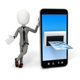 uomo 3d, Smart Phone e carta di credito Fotografia Stock Libera da Diritti