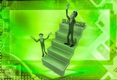 uomo 3d sull'illustrazione delle scale di successo Immagini Stock Libere da Diritti