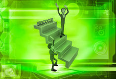uomo 3d sull'illustrazione delle scale di successo Immagine Stock
