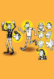 Uomo dei motociclisti del motociclo, fumetto dell'illustrazione Immagini Stock Libere da Diritti