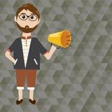 Uomo dei pantaloni a vita bassa con il megafono Fotografia Stock Libera da Diritti