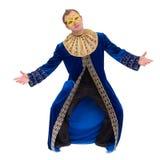 Uomo del ballerino di carnevale che indossa un dancing della maschera, isolato su bianco Fotografie Stock