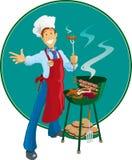 Uomo del barbecue Fotografie Stock Libere da Diritti