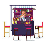 Uomo del barista con la barra ed il cocktail progettazione di carattere - Fotografia Stock Libera da Diritti