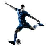 Uomo del calciatore che dà dei calci alla siluetta isolata Immagini Stock Libere da Diritti