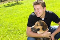 uomo del cane Fotografia Stock