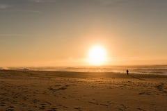 Uomo del cappello della spiaggia di tramonto Fotografia Stock