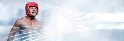 Uomo del combattente del pugile con la transizione luminosa Immagine Stock
