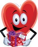 Uomo del cuore con il regalo del biglietto di S. Valentino Fotografie Stock