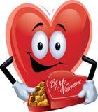 Uomo del cuore con la scatola di cioccolato Immagini Stock