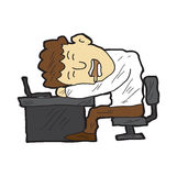 Uomo del fumetto addormentato al suo scrittorio Fotografia Stock