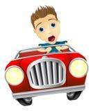 Uomo del fumetto che conduce automobile veloce Fotografie Stock Libere da Diritti