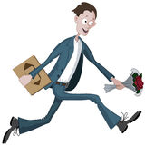 Uomo del fumetto che corre in fretta con la scatola di cioccolato e fiore a disposizione fin qui Immagine Stock