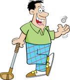 Uomo del fumetto che gioca golf Immagine Stock