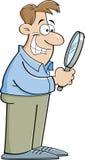 Uomo del fumetto che guarda tramite una lente d'ingrandimento Immagini Stock