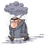 Uomo del fumetto che ha difficoltà Fotografie Stock