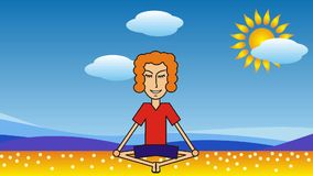 Uomo del fumetto che medita su spiaggia contro il contesto del mare, delle nuvole e del sole video d archivio
