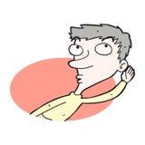 Uomo del fumetto che origlia qualcosa Fotografia Stock