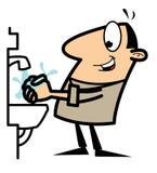 Uomo del fumetto che si lava le sue mani Immagini Stock