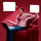 Uomo del fumetto che si siede su un sofà che esamina lo schermo della sua illustrazione del computer portatile 3D royalty illustrazione gratis