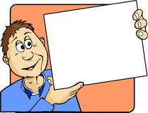 Uomo del fumetto che tiene un avviso in bianco fotografia stock libera da diritti
