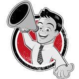 Uomo del fumetto con il megafono Fotografia Stock Libera da Diritti