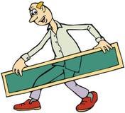 Uomo del fumetto con il segno trasparente fotografia stock