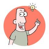 uomo del fumetto con l'idea Fotografie Stock