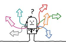 Uomo del fumetto con le multi direzioni illustrazione di stock