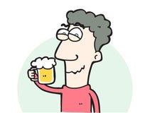 Uomo del fumetto con un vetro di birra Fotografia Stock Libera da Diritti