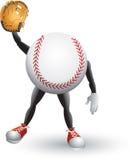 Uomo del fumetto di baseball con il guanto illustrazione vettoriale