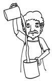 Uomo del fumetto di schizzo Fotografie Stock Libere da Diritti