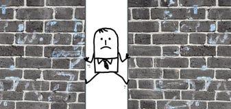 Uomo del fumetto schiacciato fra due pareti Immagine Stock