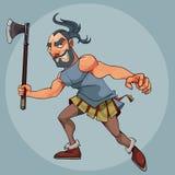 Uomo del fumetto in un costume del gladiatore con un'ascia in sua mano illustrazione di stock