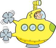 Uomo del fumetto in un sottomarino Fotografia Stock Libera da Diritti