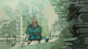 Uomo del fumetto in vestiti medievali con i supporti di un martello in rovine immagini stock
