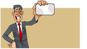 Uomo del fumetto in vestito con il legame che mostra carta in bianco Immagine Stock