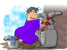 Uomo del gas che cambia un tester Fotografie Stock Libere da Diritti